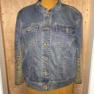 CHICO's jewel and sequin jean jacket/sz 2